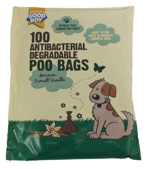GOOD BOY ANTIBACTERIAL & BIODEGRADABLE POO BAGS X 100 VANILLA SCENTED